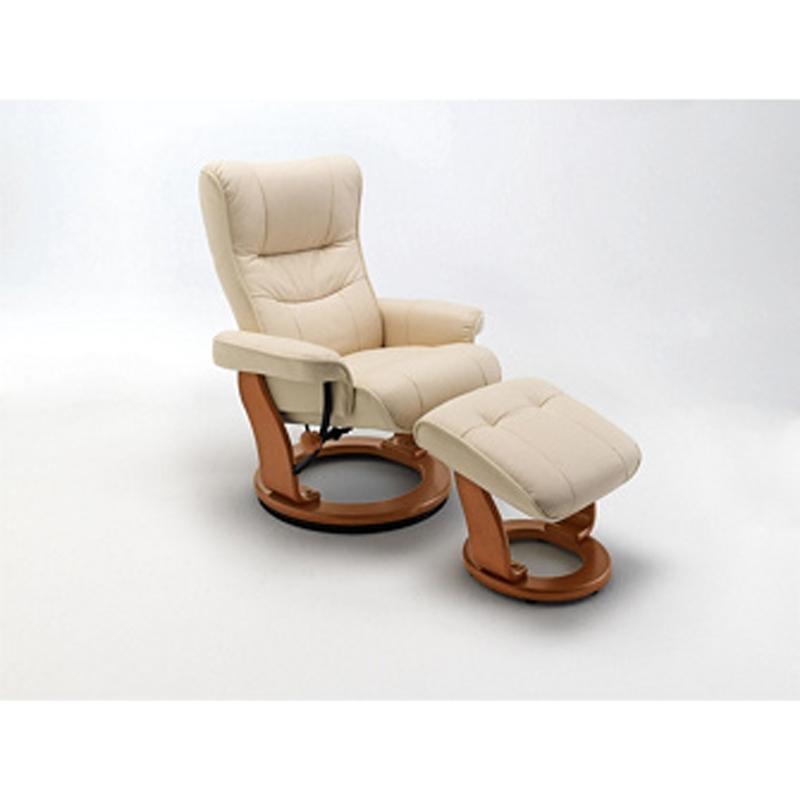 Relaxsessel Montreal in der Ausführung Leder creme, Gestell honigfarbig