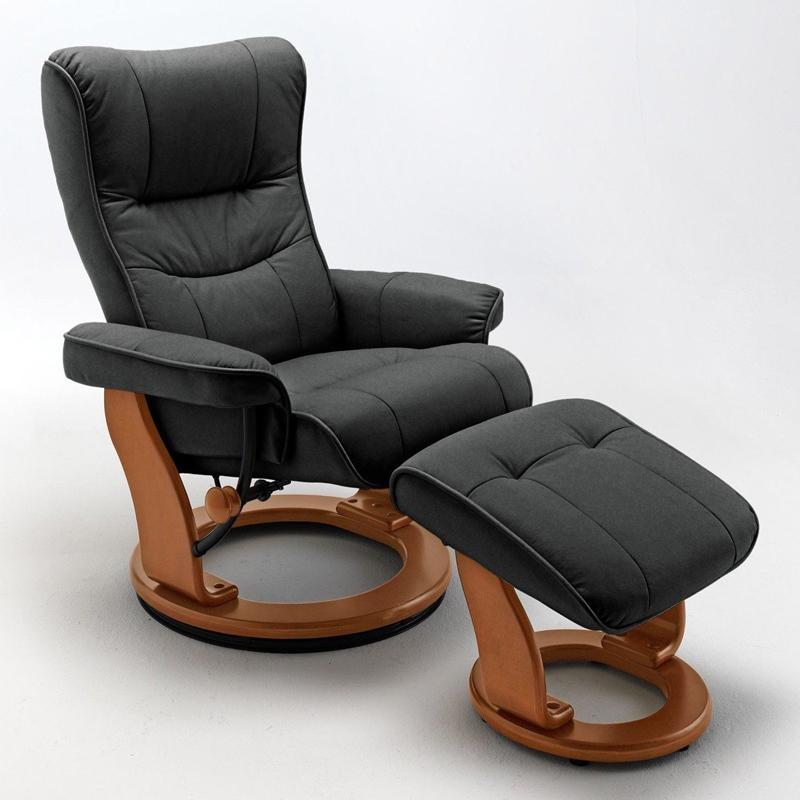 Relaxsessel Montreal in der Ausführung Leder schwarz, Gestell honigfarbig