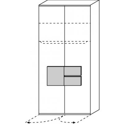 hilight Typ 025 Kleiderschrank 2 türig Breite 101,3cm, Höhe 214,8cm, Tiefe 61,5cm