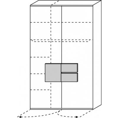 hilight Typ 026 Kleiderschrank 2 türig Breite 126,3cm, Höhe 214,8cm, Tiefe 61,5cm