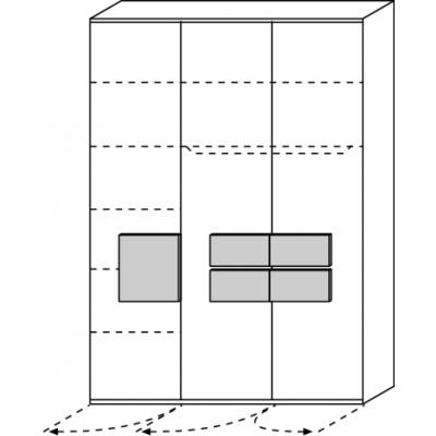 hilight Typ 027 Kleiderschrank 3 türig Breite 151,3cm, Höhe 214,8cm, Tiefe 61,5cm